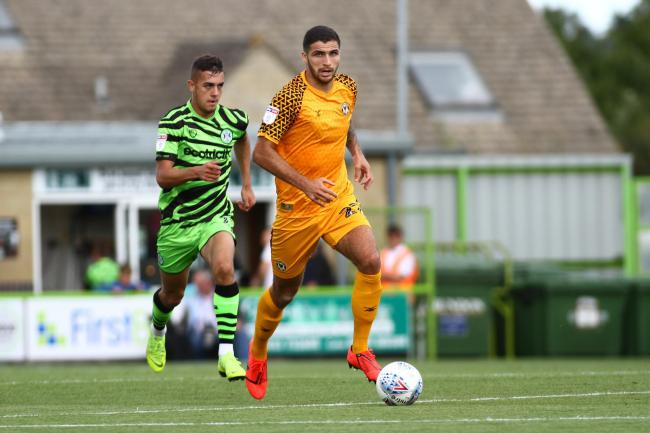 DISMISSED: Newport County defender Ryan Inniss made his debut against Forest Green Rovers on Saturday and was sent off for an alleged bite against West Ham United under-21s last night. Pictures: Huw Evans Agency