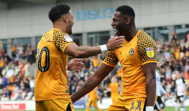 VICTORY: Goalscorer Jamille Matt, right, celebrates with fellow substitute Corey Whitely as Newport County beat Port Vale. Pictures: Huw Evans Agency