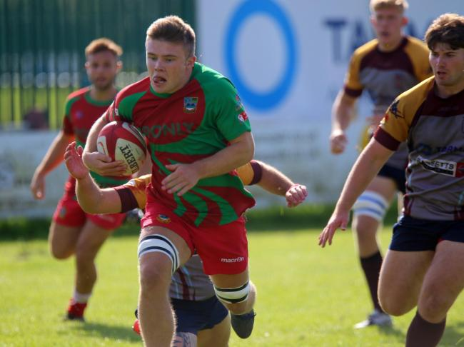 IN SPACE: Bedwas' Rhys Morgans in action against Tata Steel. Picture: Ian Lovell