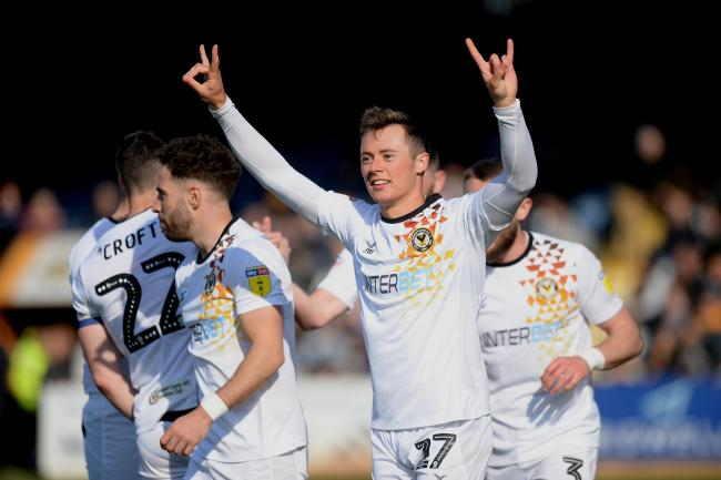 RETURN: Harry McKirdy celebrates his only goal for Newport County, at Cambridge United in April