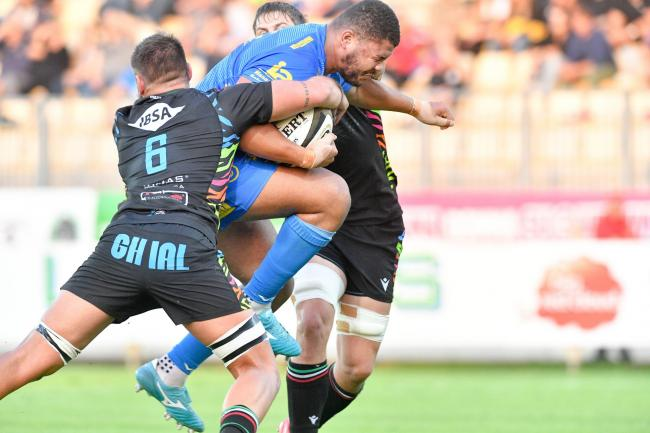 SUPERB: Leon Brown led the charge for the Dragons in Parma