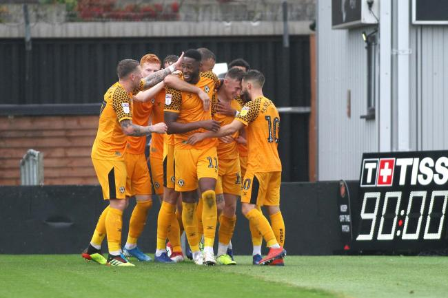 VICTORY: George Nurse and his Newport County teammates celebrate the win over Carlisle United on October 5. Pictures: Huw Evans Agency