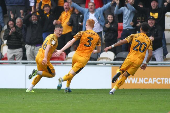 05.10.19 - Newport County v Carlisle United - Sky Bet League 2 -.George Nurse (16) of Newport County celebrates his winning goal.