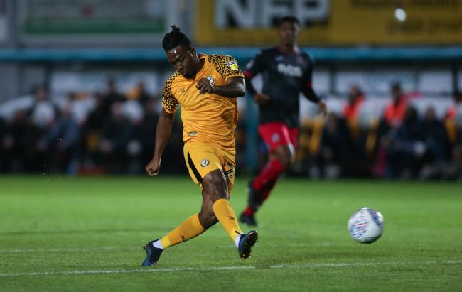 CHANCE: Newport County striker Dominic Poleon goes for goal against Exeter City in the Leasing.com Trophy. Pictures: Huw Evans Agency