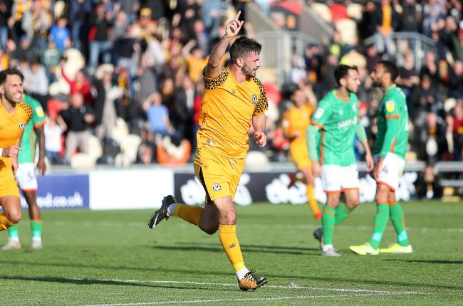 GOAL: Padraig Amond celebrates after putting Newport County ahead against Scunthorpe United at Rodney Parade. Pictures: Huw Evans Agency