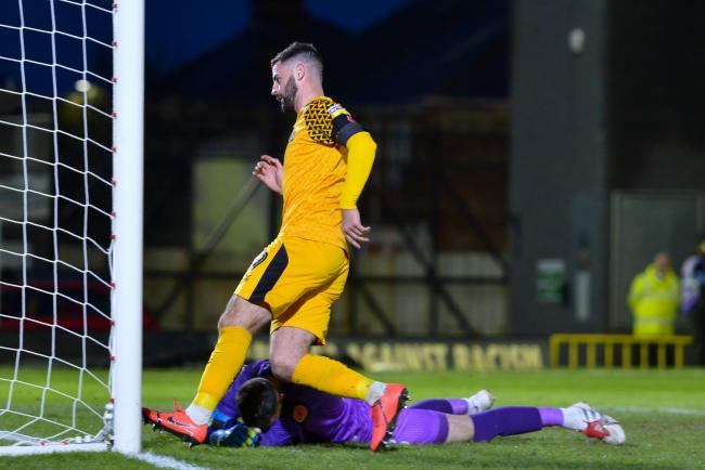 LEVELLER: Newport County striker Padraig Amond scored from the spot at Grimsby Town on Saturday