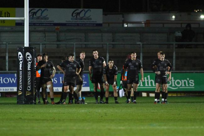DEFLATED: The Dragons after conceding a try in defeat to Zebre