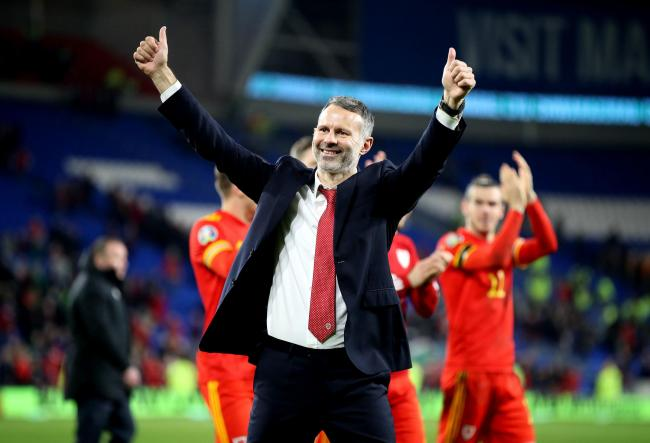 EXCITED: Wales' manager Ryan Giggs celebrates victory over Hungary last month and qualification for Euro 2020