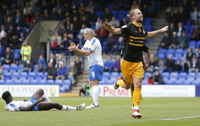 FLASHBACK: Fraser Franks scored the winner for Newport County at Tranmere Rovers in September 2018, the last time the Exiles won after an overnight stay before the game