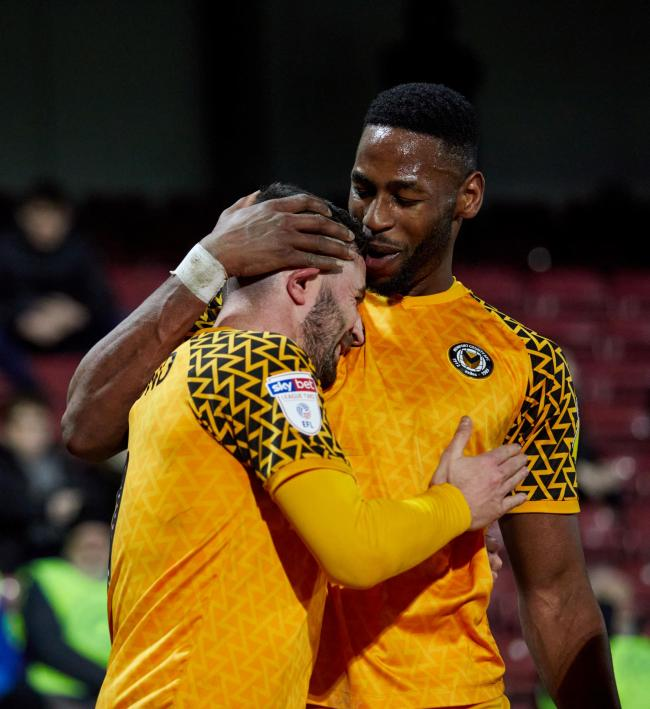 GOALSCORERS: Padraig Amond, left, and Jamille Matt sealed victory for Newport County at Scunthorpe United