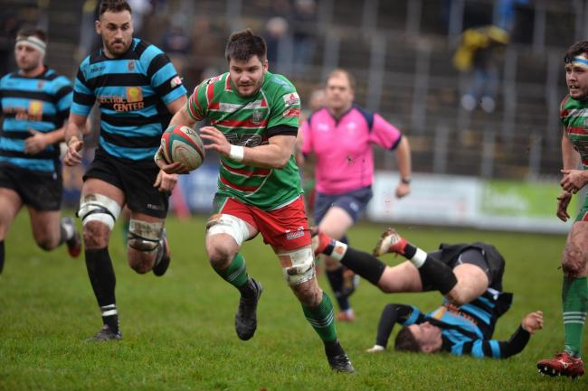 FLASHBACK: Ebbw Vale's Lewis Young makes a break against Cardiff at Eugene Cross Park in late 2018. Picture: christinsleyphotography.co.uk