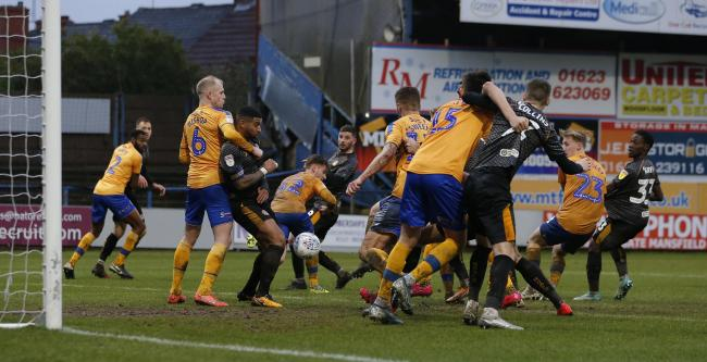 SCRAMBLE: Newport County couldn't find a way past the Mansfield Tow defence on Saturday. Pictures: Huw Evans Agency