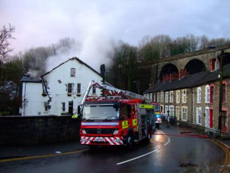 Old Mill Hotel fire, Bargoed. Pictures from Campaign reader Sue Togood.
