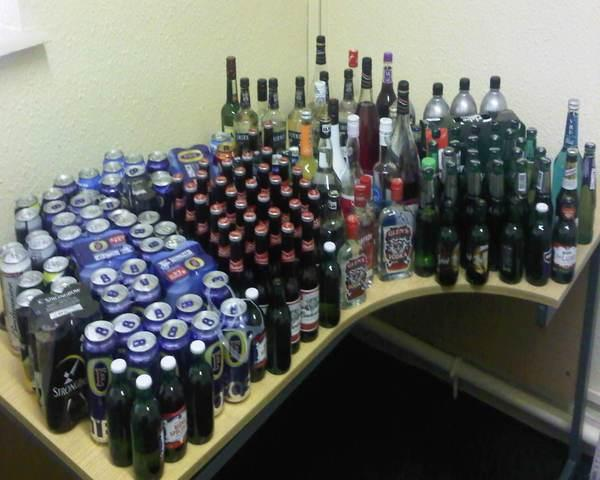 Some of the alcohol seized in one evening on Saturday June 23