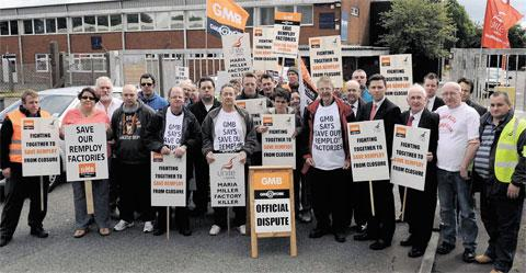 PROTEST: Workers, union officials and supporters outside the Remploy factory in Croespenmaen