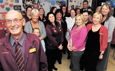 GOOD SERVICE: Sainsbury's Pontllanfraith worker Anthony Owens, pictured with colleagues, has been serving shoppers for 50 years