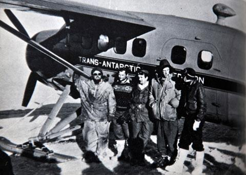 The end of the Trans Polar flight; from left: Peter Willson, John Lewis, Taffy Williams, Edmund Hillary, Gordon Haslop