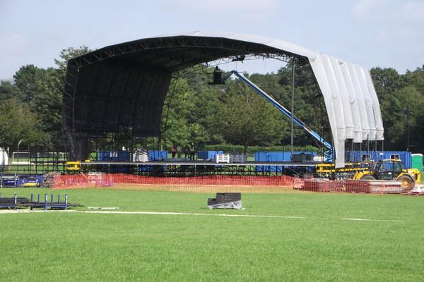 The stage being built for BBC Caerphilly Proms in the Park