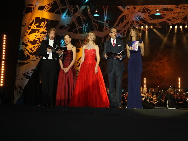 Tenor Andrew Staples, BBC Young Musician of the year 2012, Laura Van Der Heijden, soprano Elin Manahan Thomas, founder and director of Only Men Aloud and Only Boys Aloud, Tim Rhys-Evans and BBC The One Show presenter Alex Jones