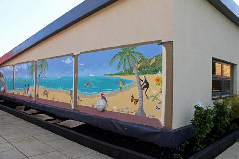 The seascape mural at Coleg Gwent's Crosskeys campus