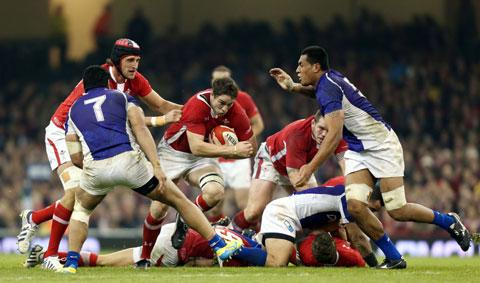 UPBEAT: Newport-born blindside flanker Ryan Jones in action against Samoa during Wales' 26-19 defeat on Friday at the Millennium Stadium