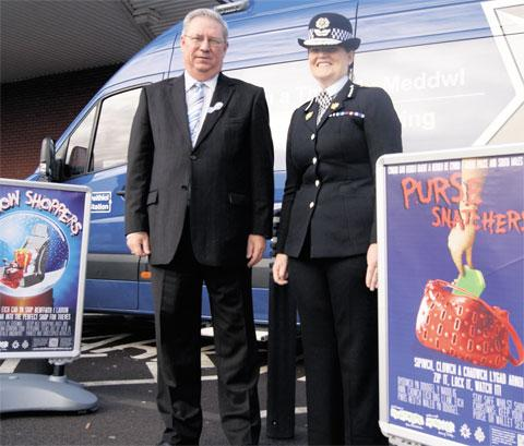 STAY SAFE: PCC Ian Johnston and Gwent chief constable Carmel Napier at the 'Don't Have A Nightmare This Christmas' launch