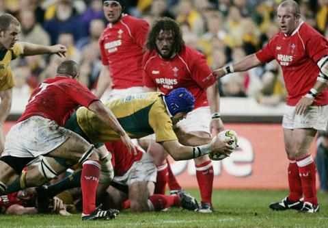 TRY TIME: Australia's Nathan Sharpe scores against Wales in Sydney in 2007