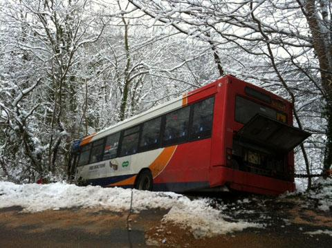 NARROW ESCAPE: The school bus which veered off the road in Abercarn