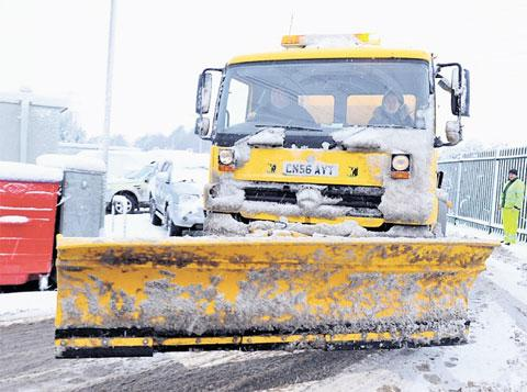 WELCOME SIGHT: A snow plough out in Monmouthshire