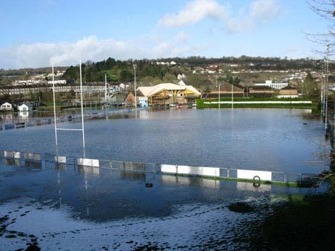 The pitch at Newbridge RFC is completely flooded