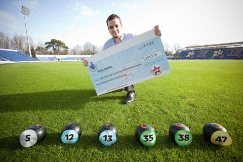 Keen bowler Alun Jones, of Caerphilly won a £1,135,578 Lotto Jackpot, here with his winning lottery numbers on a set of his bowls. PIC: ©Huw Evans Agency, Cardiff
