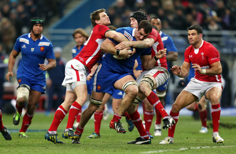 BIG GAME: Fly half Dan Biggar, left, shows his defensive qualities in the 16-6 win over France