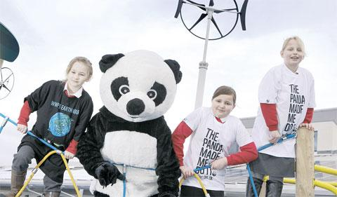 Pippa the Panda meets eco-pupils