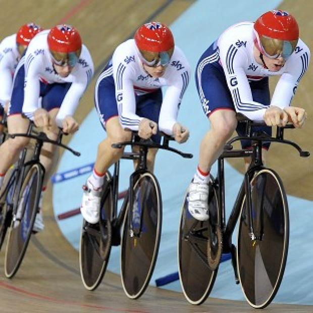 HOT PURSUIT: Ed Clancy leads Great Britain's team pursuit squad with Steve Burke, Sam Harrison and Andrew Tennant