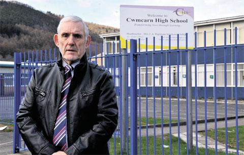 IT'S A MESS: Cwmcarn High School shut its doors after asbestos was found in the building but Gary Thomas, chairman of governors, is questioning the independency of a report amid claims it is not impartial
