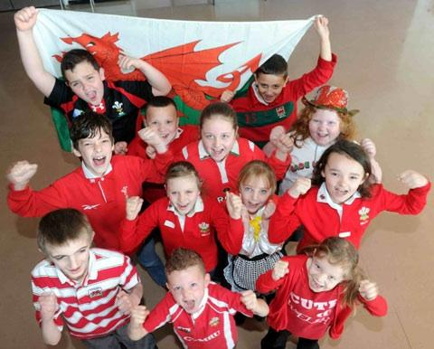 COME ON WALES: Ringland pupils get behind the boys