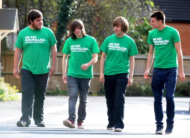 Charity walkers. L-R Adam Jones, Jack Lish, Connor Malone and Ben Jones who walked from Risca to Aberystwyth for Macmillan Cancer Support (2309329)