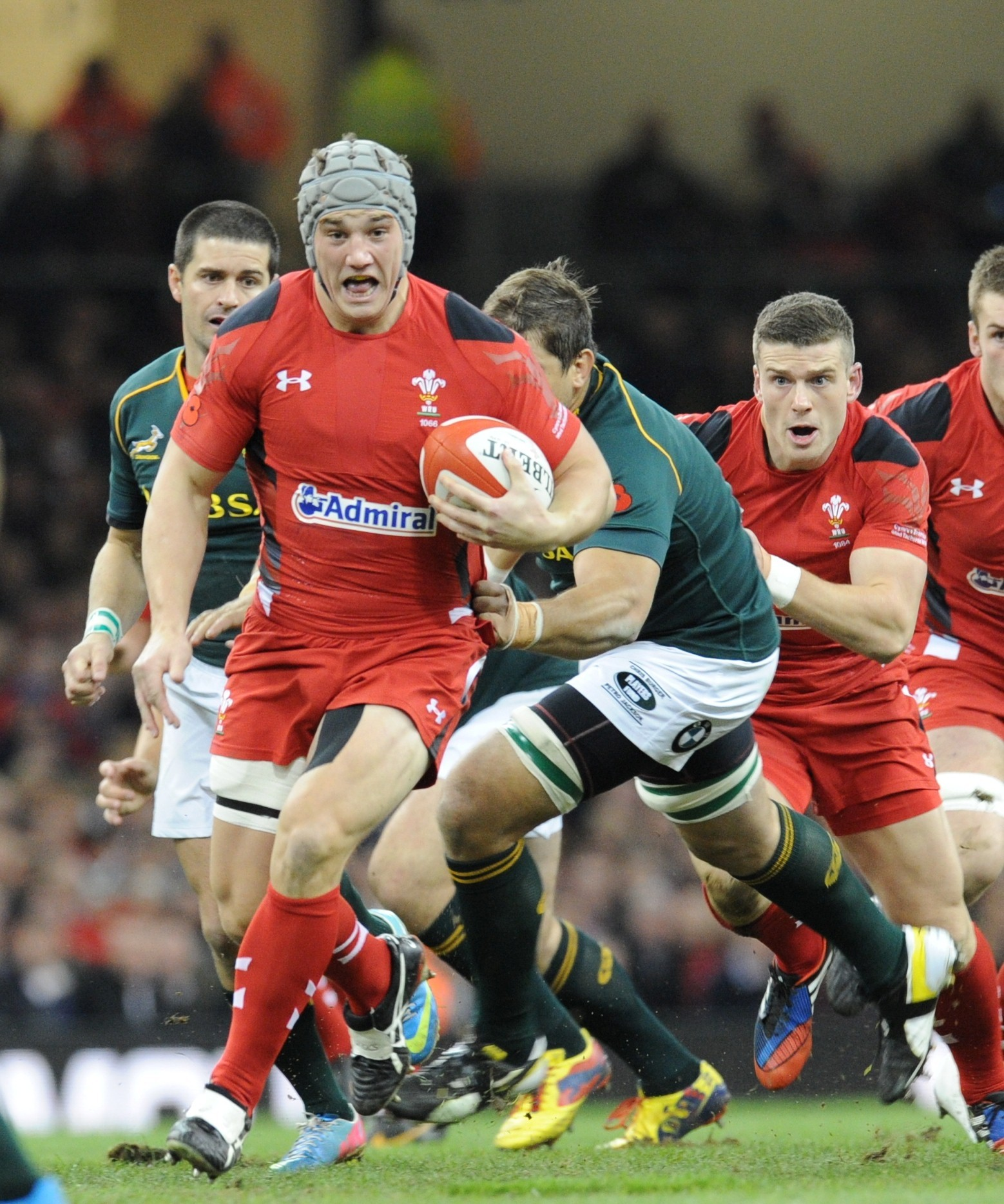 INJURED: Jonathan Davies makes a break in his last appearance for Wales against South Africa