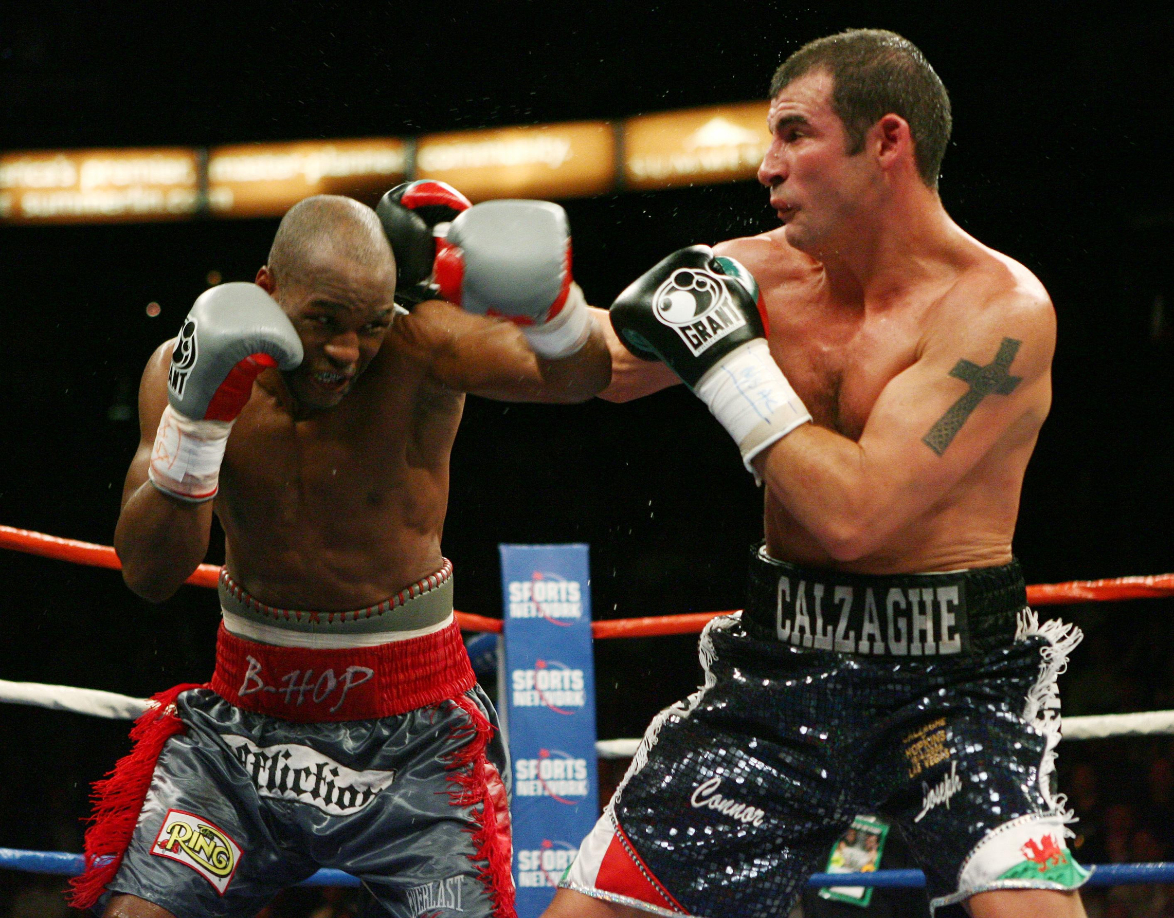 Wales' Joe Calzaghe on top as he exchanges punches with USA 's Bernard Hopkins during the Light-Heavyweight Title at Thomas & Mack Center, Las Vegas, USA.  PRESS ASSOCIATION Photo. Picture date: Saturday April 19, 2008. See PA story BOXING Las