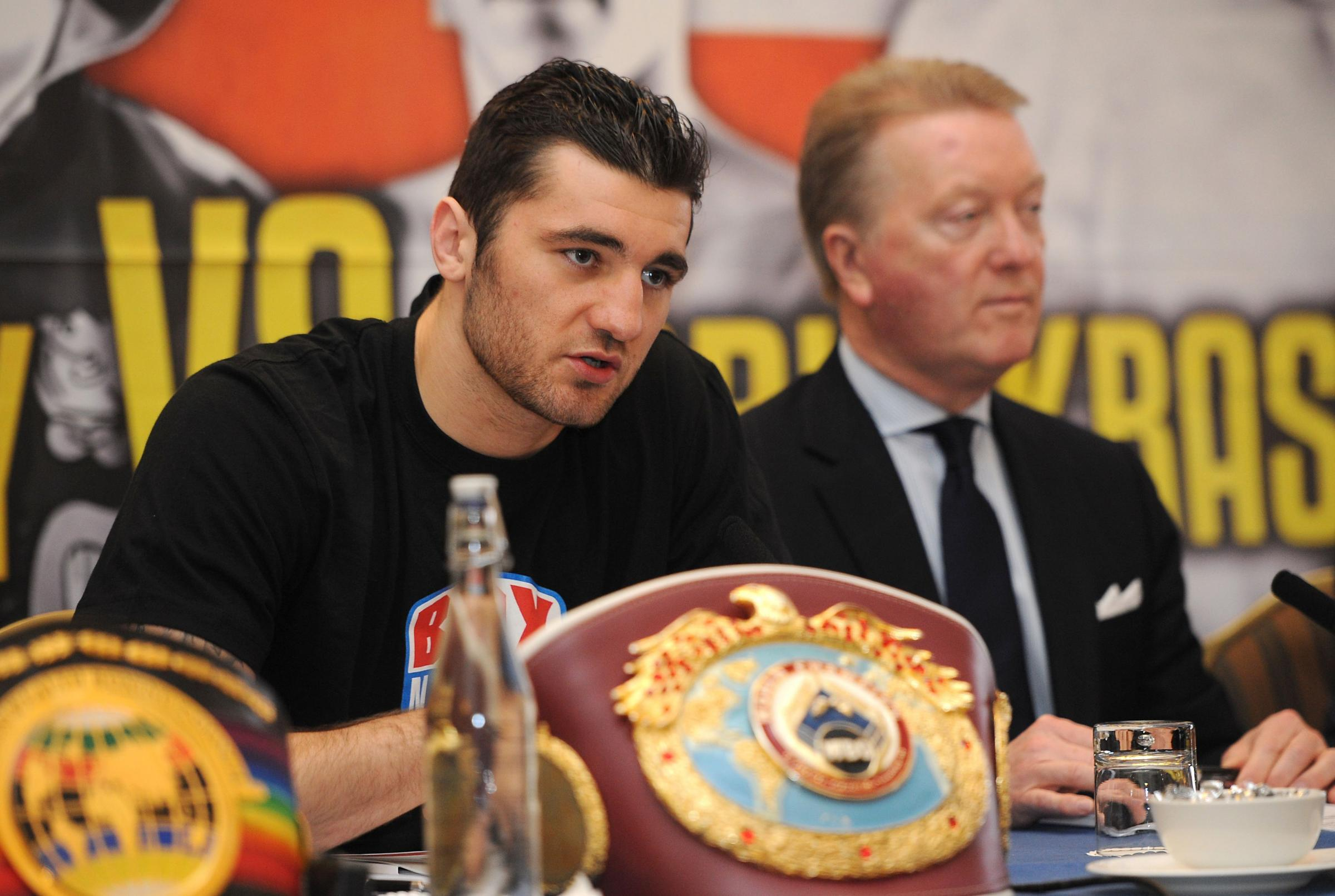 BACKING: Cefn Fforest boxing star Nathan Cleverly, left, with promoter Frank Warren