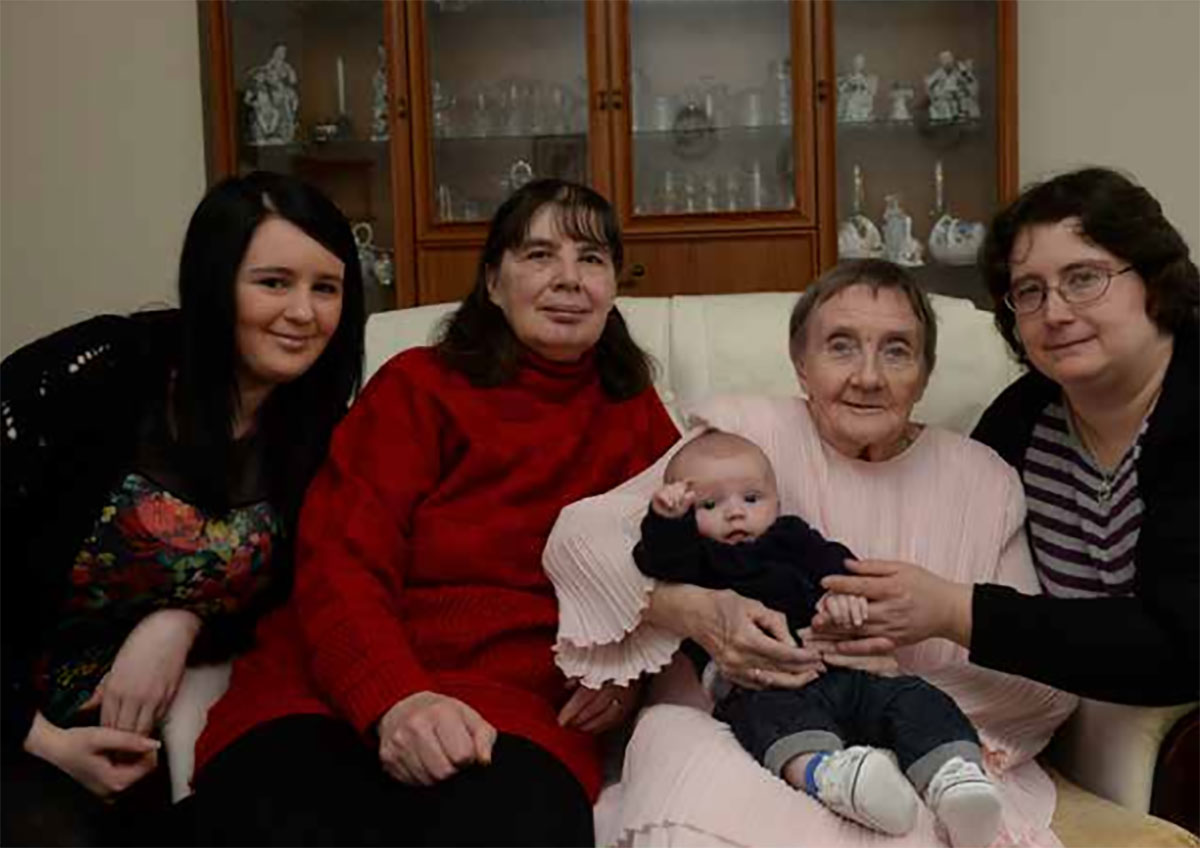 Five generations of the same family in Pentwynmawr, near Newbridge. Enid Jones, 81, with her nine-week-old great- great-grandson Denni Roberts.