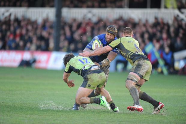 Newport Gwent Dragons v Northampton Saints in LV Cup. Pictured is No 8 Netani Talei during a double tackle by the Saints defence. (3639438)