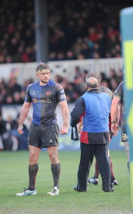 Newport Gwent Dragons v Northampton Saints in LV Cup. Picture in mud and blood is Team Captain Lewis Evans. (3639452)