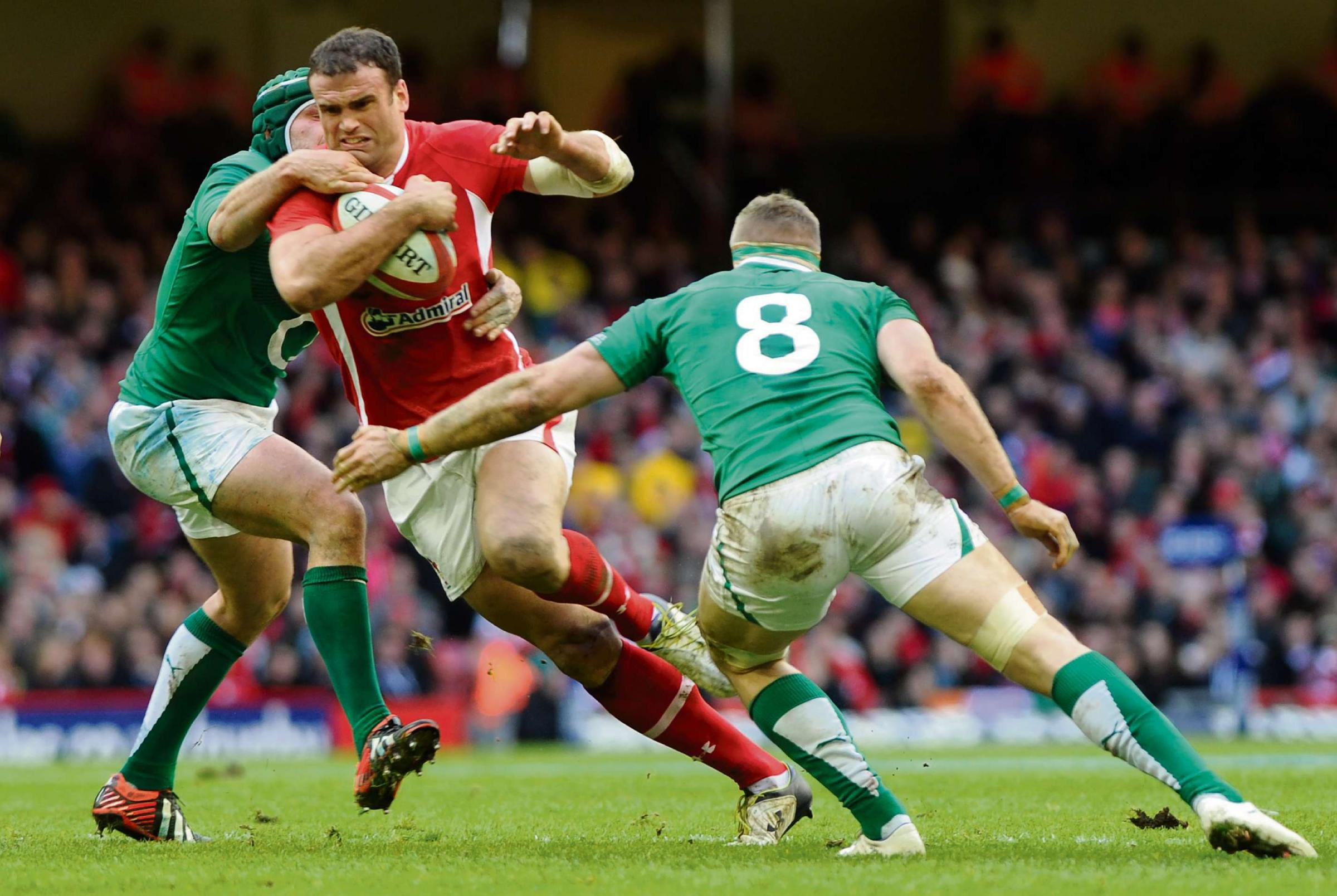 RETURN: Jamie Roberts in action for Wales against Ireland in the 2013 Six Nations