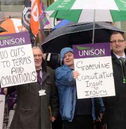 PROTEST: Workers and union representatives outside Caerphilly council's offices