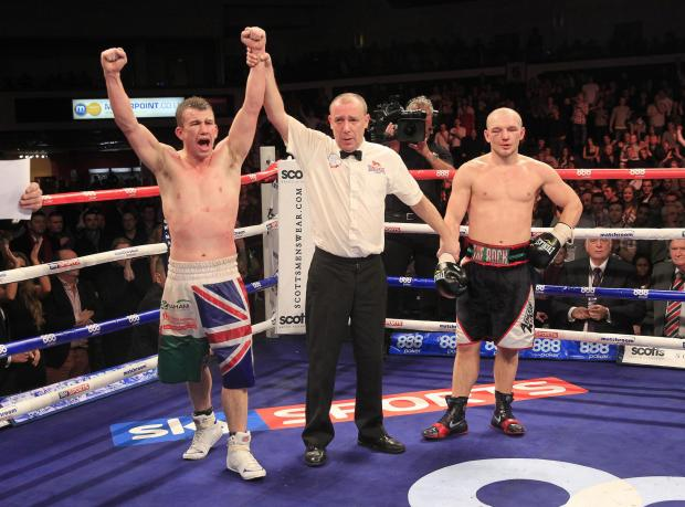 REMATCH: Gary Buckland celebrates victory over Gavin Rees in February