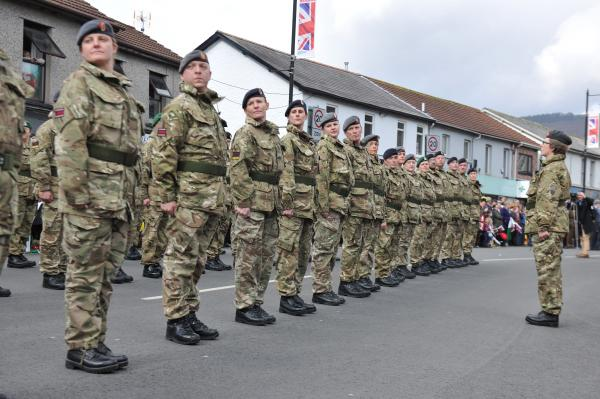 203 (Welsh) Field Hospital unit on parade in Risca