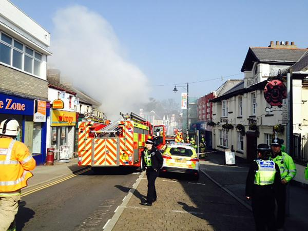Firefighters tackle blaze in Caerphilly town centre