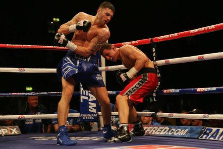 MASTER BLASTER: Nathan Cleverly (left) in action with Robin Krasniqi during the WBO World Light-Heavyweight Championship title fight at Wembley Arena, London.