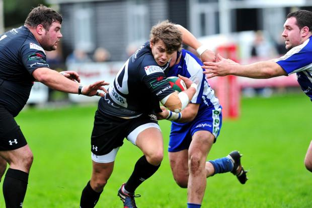 Crosskeys v Bridgend - Steffan Jones powers forwards (1824529)